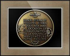 "Patek Philippe Geneve Commemorative Medal Coin (Back) // Paper: enhanced matte; Glazing: acrylic; Moulding: black, matte black basic; Top Mat: black/gray, dusk; Middle Mat: brown, chestnut brown; Bottom Mat: tan, seaside // Price starts at $139 (Petite: 17.75"" x 19.75""). // Customize at http://www.imagekind.com/Patek-Philippe-Geneve-PPG_art?IMID=052985c0-deff-40d6-9371-16068992094d"