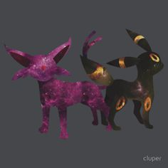 A spacy silhouette of Umbreon and Espeon.