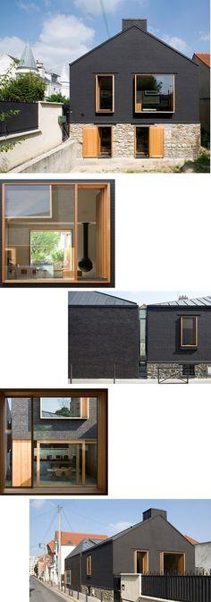 Me encanto el color negro del ladrillo y la combinación de la madera clara se ve padrisimo.