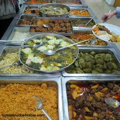 Scrumptious array of home cooked stews, stuffed vegetables, dolmas, koftes and more at traditional lokantas in Turkey; so inviting!