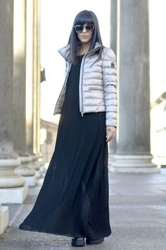 Long black dress silver quilted jacket 2