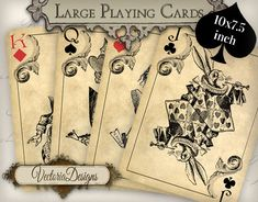 Printable Alice in Wonderland Playing Cards wall art printable hobby crafting scrapbooking instant download digital collage sheet - VD0603 by VectoriaDesigns on Etsy https://www.etsy.com/listing/184955847/printable-alice-in-wonderland-playing