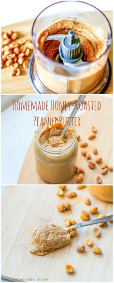 The BEST homemade peanut butter! Made with only honey roasted peanuts.
