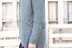 The Laurel Cardigan is all the things I love to knit: Big squishy cables, lots of simple stitch texture, some simple shaping to keep things interesting and easy construction. Combined with the things I love to wear: easy-fit oversized cardigans that double as jackets, extra-long sleeves that cuff nicely as needed, and a generous shawl collar that doubles as an overlapping front.