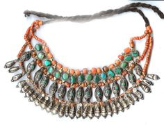 Kulu Manali choker. Original necklace with coral, turquoise and silver with yak hair tie. Himachal Pradesh, India. Posted by Linda Pastorino.