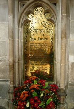 Jane Austen's Grave in Winchester Cathedral (Memorial Brass) -- Winchester, Hampshire, England.
