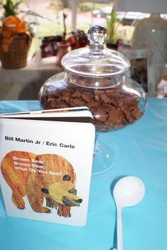 Children's Book Party Theme. Candy Buffet. First Birthday Party. Brown Bear, Brown Bear, What Do You See?. Chocolate Teddy Grahams. Jar from @HomeGoods