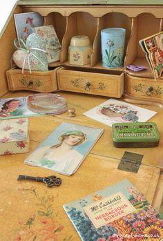 Vintage Home Shop - Antique Floral Painted Lady's Writing Bureau: www.vintage-home.co.uk