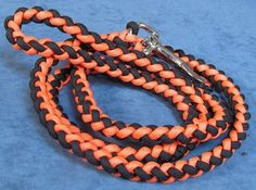 Paracord Dog Leash, Black and Neon Orange colored, 4 foot