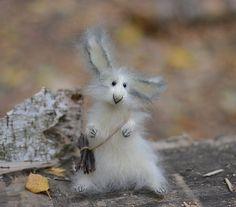 Hare Art Sculpture Animal Cream color by OlgaMareeva on Etsy