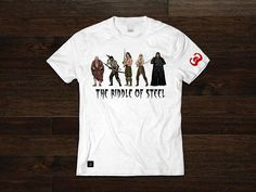 Force Five Tee: Hyborian Tale White Ring-Spun Cotton Commercial Heat Pressed Images Matte Vinyl Lettering & Sleeve Image Conan The Barbarian, Vinyl Lettering, Heat Press, Spun Cotton, Dragons, Shirt Designs, Commercial, Retro, Tees