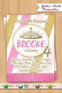 Princess Birthday Invitation Gold and Pink by YellowFieldsDesigns