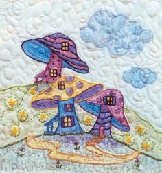 Periwinkle Lane - Block 7 Embroidery Pattern by Black Cat Creations - Jackie Theriot. BOM embroidery and crayon pattern of three mushrooms. Machine Embroidery Quilts, Embroidery Patterns, Quilt Patterns, Embroidery Stitches, Hand Embroidery, Thread Painting, Fabric Painting, Fabric Art, Girls Quilts