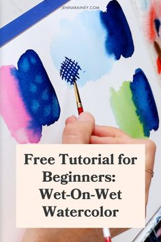 Free tutorial for beginners: wet on wet watercolor. Wet-on-wet is a basic and classic technique for painting watercolor.You can use it for florals, landscapes, patterns…almost anything! It's my absolute favorite thing about watercolor. Watercolor Flowers Tutorial, Step By Step Watercolor, Easy Watercolor, Watercolor Design, Flower Tutorial, Happy Little Trees, Simple Flowers, Watercolor Techniques, Paint Party