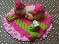 Fondant baby topper Green and Pink | CreatingMemoriesbyanafeke - Edibles on ArtFire