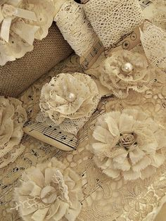 lace and pearl button flowers