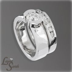 Channel Set and Half Bezel Set Diamond Engagement Ring with Matching Wedding Band in 14kt White Gold - LS565