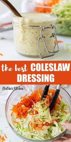 Healthy Coleslaw Dressing, Salad Dressing Recipes, Slaw Dressing Recipe Vinegar, Salad Dressings, House Dressing Recipe, Coleslaw Recipe Easy, Coleslaw Sauce, Healthy Coleslaw Recipes, Creamy Coleslaw