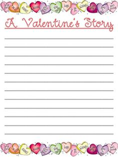 Valentine's Day story writing paper to use with conversation hearts.