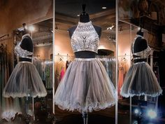 Dresses For Sale Online 2015 Two Pieces Homecoming Dresses Model Pictures High Neck Rhinestones Crystals Sequins Tulle Sweet 16 Dresses Vestido De Festa Curto Girls Homecoming Dresses From Nicedressonline, $175.08| Dhgate.Com