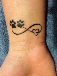 Cute Pawprints on Heart Infinity Tattoo Idea.