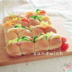 全粒粉パンを焼きました。今日のお弁当に。 - 63件のもぐもぐ - ちぎりパンdeサンドイッチ by しのや