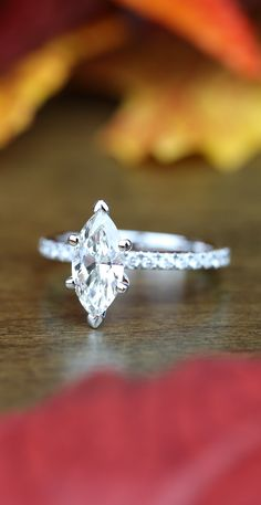 A stunning recently purchased Petite Pave Marquise Diamond Engagement Ring in White Gold!