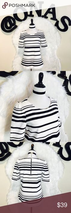"Banana Republic Striped Puff Shoulder Top Super cute top and very feminine puff slight at shoulders. It has thick cotton material & zip at the back. Laid flat across @ bust: 18"", Length: 24.5"". NWOT Banana Republic Tops Blouses"