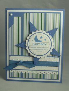 Stampin Up Handmade Greeting Card: Baby Shower Card, Baby Boy, New Baby, Gift, Twinkle Twinkle Little Star, New Mom, Babies Boys