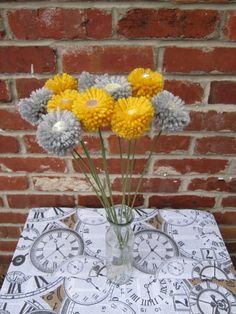 Yellow and Gray Yarn Flowers with Button Centers, The Flower Craft Shop - Etsy