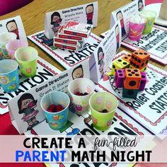 Create a fun-filled parent math night. Just print and play. Very little prep! Math Classroom, Kindergarten Math, Teaching Math, Preschool, Carnival Classroom, Teaching Tips, Classroom Ideas, Fun Math, Math Games