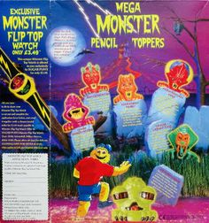 1996 Sugar Puffs Monster Pencil Tops & Watch