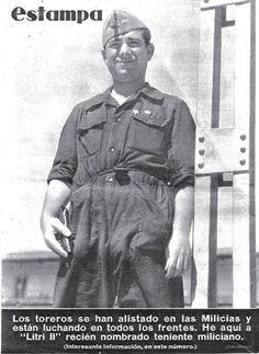 """Contraportada del semanario Estampa de agosto de 1936 en la que vemos a Luis Prados Fernández """"Litri II"""" tras ser nombrado teniente miliciano por su actuación en el frente de Somosierra. """"Litri II"""" llegaría a comandar la 96 Brigada Mixta del Ejército Popular de la República."""