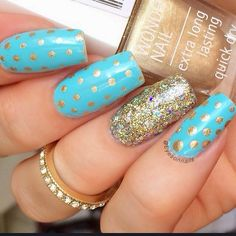 #nailart #nails #mani Blue and gold dotticure