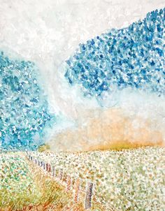 Pointillism landscape in watercolor. School Painting, Year 7, Pointillism, Painting Lessons, Art Education, Landscape Paintings, Style Ideas, High School, Watercolor