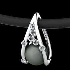 Necklace | Erik Stewart. Palladium, diamonds and pearl