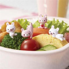 pink and white rabbit food picks for Bento Box Lunch Box