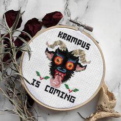 Krampus Cross Stitch Pattern PDF Halloween Horror Modern