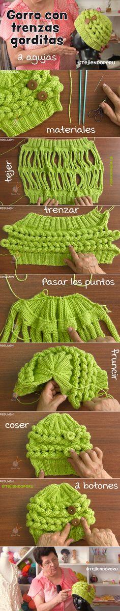 Gorro con trenzas gorditas tejido en dos agujas o palitos. Video tutorial del paso a paso:) #knit #beanie #tejer