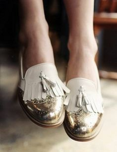 shoes, loafers, gold