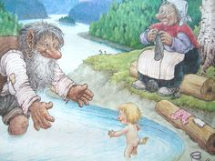 The First Bath. Fantasy World, Fantasy Art, Fairy Sketch, Kobold, Funny Troll, Creation Photo, Elves And Fairies, Illustrations And Posters, Sci Fi Art