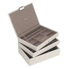 25% OFF - STACKERS Set of 3 'MINI SIZE' - Vanilla STACKER Set of 3 Jewellery Box with Mocha Spot Lining.
