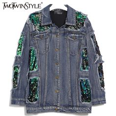 Cheap sequin denim jacket, Buy Quality jeans coat directly from China denim jacket Suppliers: TWOTWINSTYLE 2017 Women Spring Sequins Denim Jacket Female Jeans Coat Windbreaker Ripped Long Sleeve Tops Casual Clothes Korean