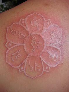 Lotus Mandala White Ink Tattoo