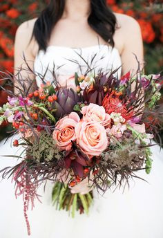 amazing fall bouquet // photo by Alyssia B Photography // http://ruffledblog.com/bohemian-fall-bridal-session
