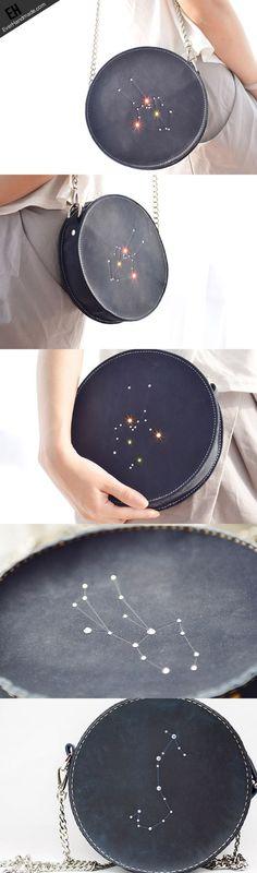 Handmade Leather round bag shoulder bag constellation women