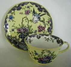 Antique Crown Staffordshire Cup & Saucer ༻