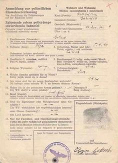MAY I SEE YOUR PAPERS PLEASE: A form required by the German in the occupied territories from all Jews and other ethnic minorities, had to identify their religion, profession and address and provide finger print, back of form spells out severe consequences for wrongful information
