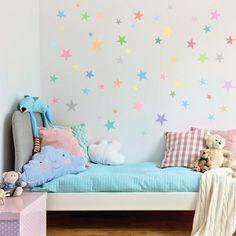 PASTEL STARS MULTICOLOUR Wall Art Sticker Kit decal nursery Subtle Soft Sorbet