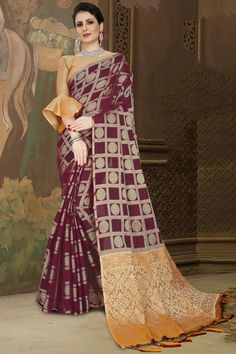 Wine Chanderi silk saree with mustard brocade blouse, embellished with woven zari. Saree with Boat Neck, Elbow Sleeve. It comes with unstitch blouse, it can be stitched 32 to 44 sizes. #wine #chanderi silk #saree #blouse #Andaazfashion #UK Chanderi Silk Saree, Silk Sarees, Saree Wedding, Wedding Wear, Wedding Saree Collection, Brocade Blouses, Traditional Sarees, Saree Blouse, Fabric Material